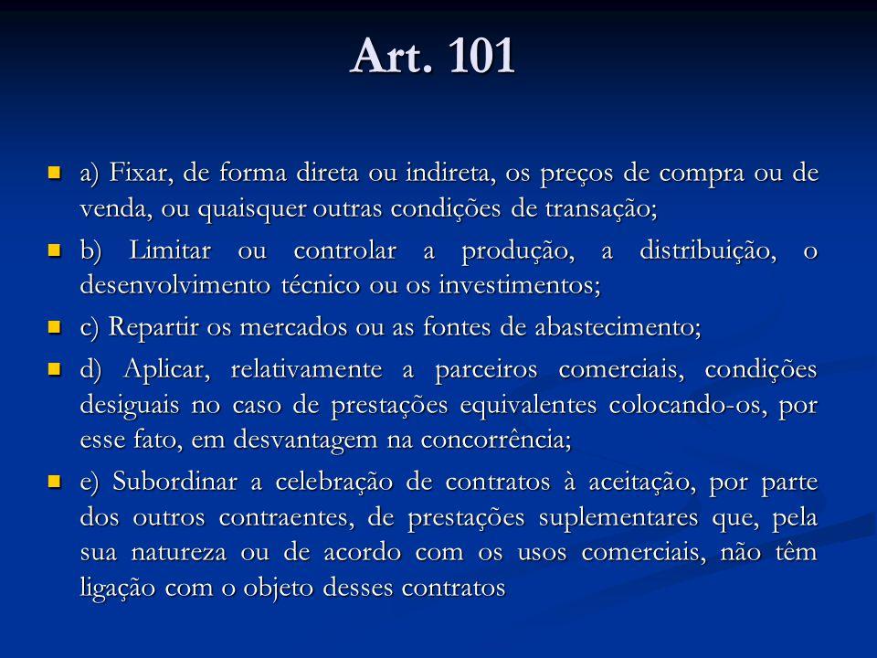 Art. 101 a) Fixar, de forma direta ou indireta, os preços de compra ou de venda, ou quaisquer outras condições de transação; a) Fixar, de forma direta