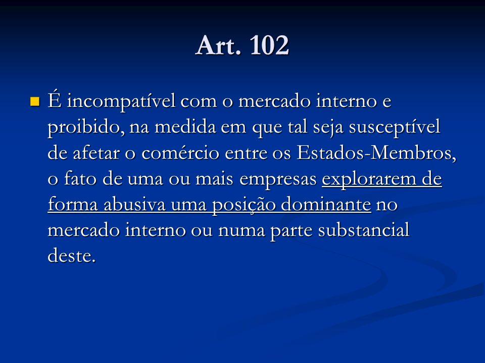 Art. 102 É incompatível com o mercado interno e proibido, na medida em que tal seja susceptível de afetar o comércio entre os Estados-Membros, o fato