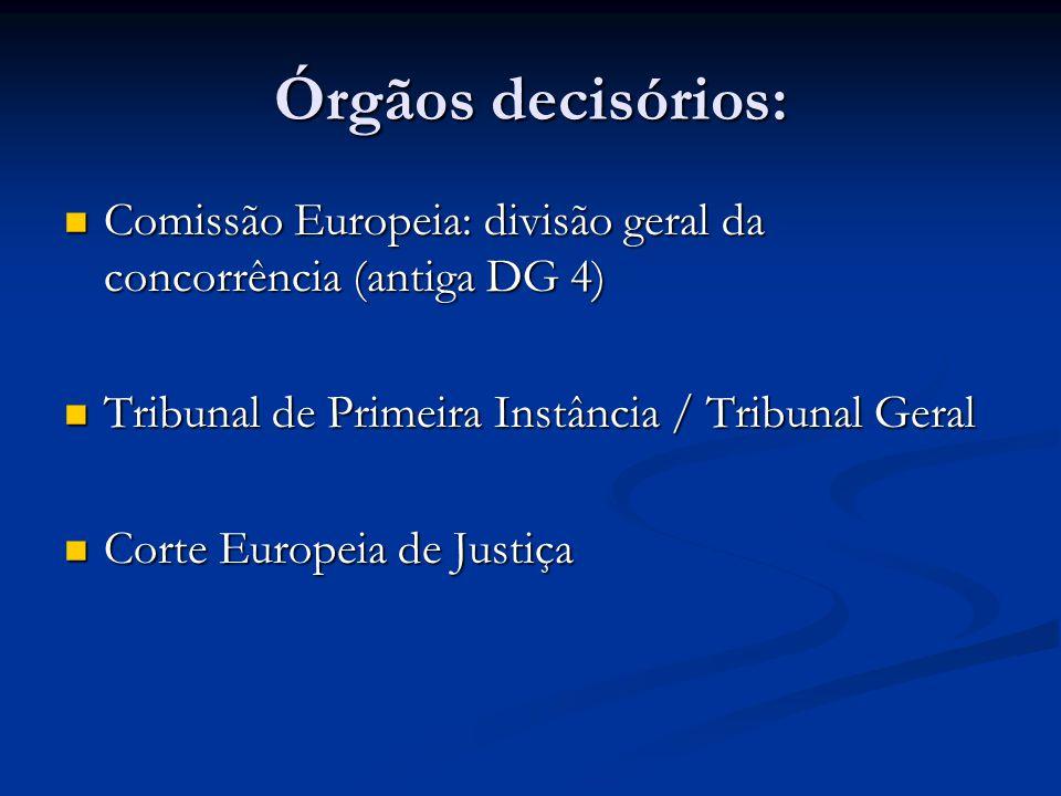 Órgãos decisórios: Comissão Europeia: divisão geral da concorrência (antiga DG 4) Comissão Europeia: divisão geral da concorrência (antiga DG 4) Tribu