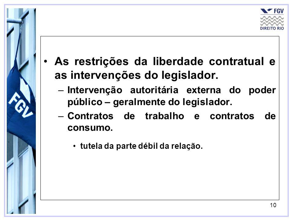 10 As restrições da liberdade contratual e as intervenções do legislador. –Intervenção autoritária externa do poder público – geralmente do legislador