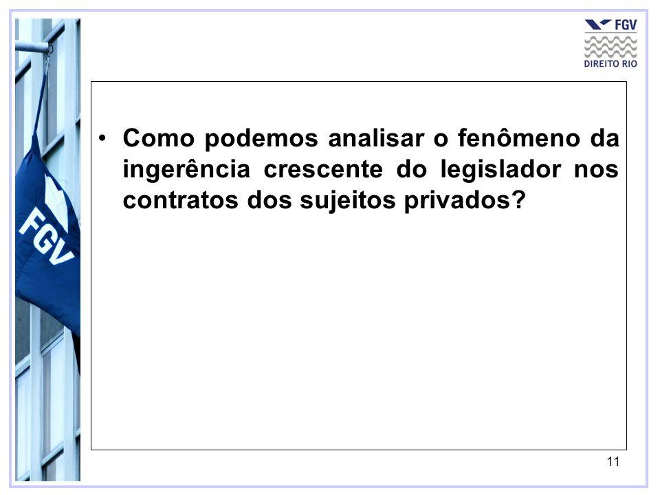 11 Como podemos analisar o fenômeno da ingerência crescente do legislador nos contratos dos sujeitos privados?
