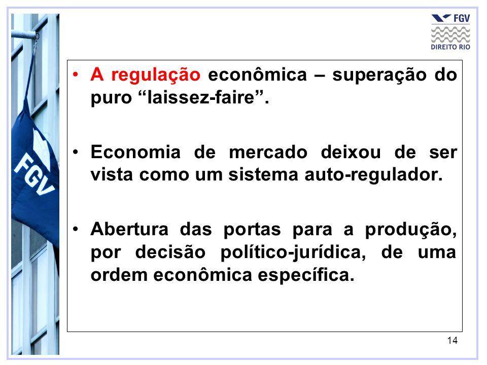 14 A regulação econômica – superação do puro laissez-faire. Economia de mercado deixou de ser vista como um sistema auto-regulador. Abertura das porta
