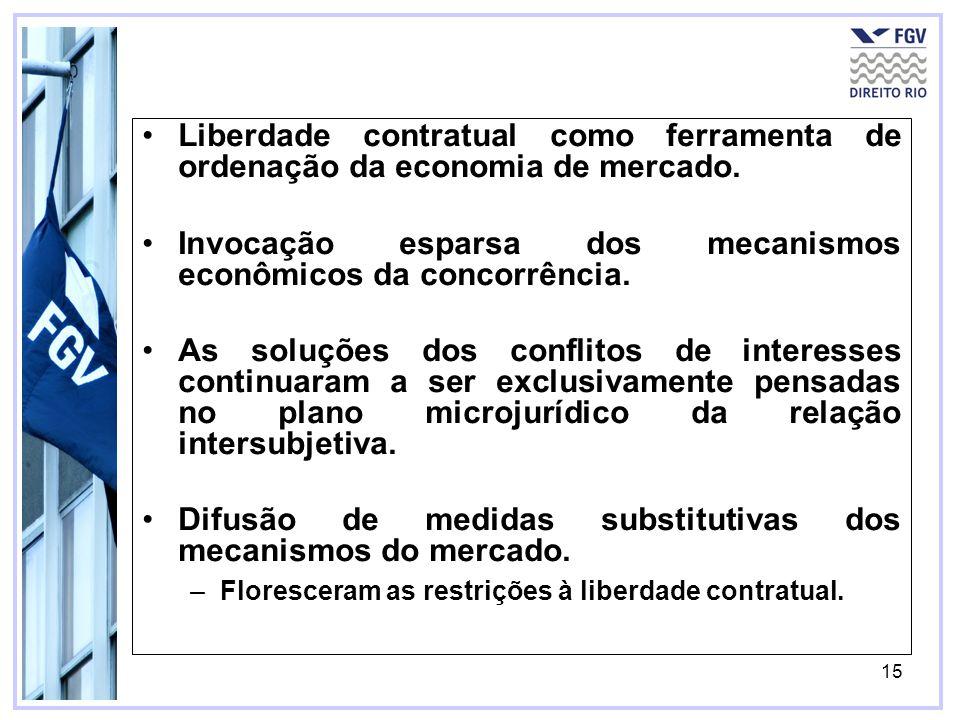 15 Liberdade contratual como ferramenta de ordenação da economia de mercado. Invocação esparsa dos mecanismos econômicos da concorrência. As soluções