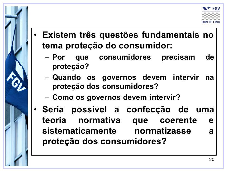 20 Existem três questões fundamentais no tema proteção do consumidor: –Por que consumidores precisam de proteção? –Quando os governos devem intervir n