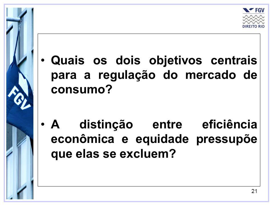 21 Quais os dois objetivos centrais para a regulação do mercado de consumo? A distinção entre eficiência econômica e equidade pressupõe que elas se ex