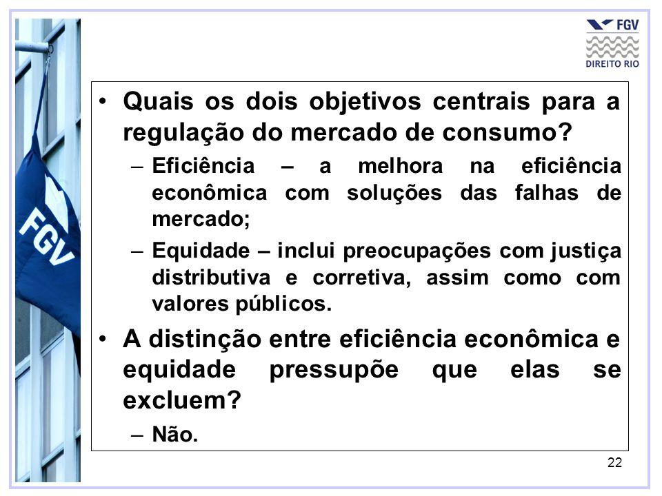 22 Quais os dois objetivos centrais para a regulação do mercado de consumo? –Eficiência – a melhora na eficiência econômica com soluções das falhas de