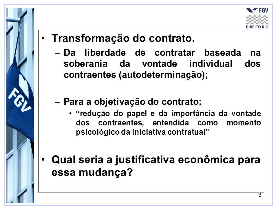 3 Transformação do contrato. –Da liberdade de contratar baseada na soberania da vontade individual dos contraentes (autodeterminação); –Para a objetiv