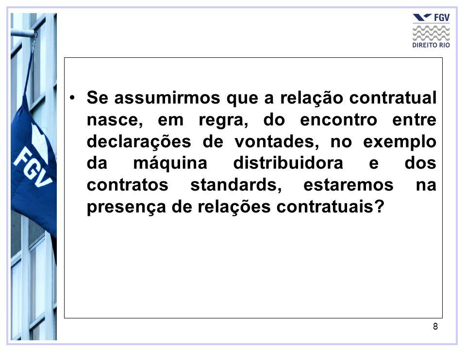 8 Se assumirmos que a relação contratual nasce, em regra, do encontro entre declarações de vontades, no exemplo da máquina distribuidora e dos contrat
