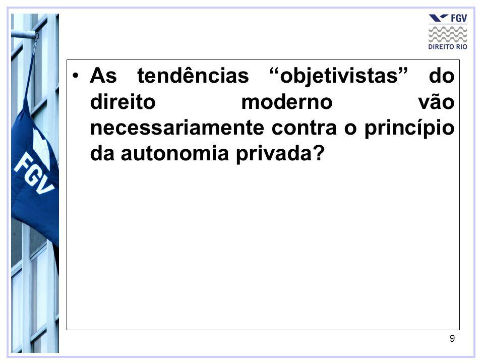 9 As tendências objetivistas do direito moderno vão necessariamente contra o princípio da autonomia privada?
