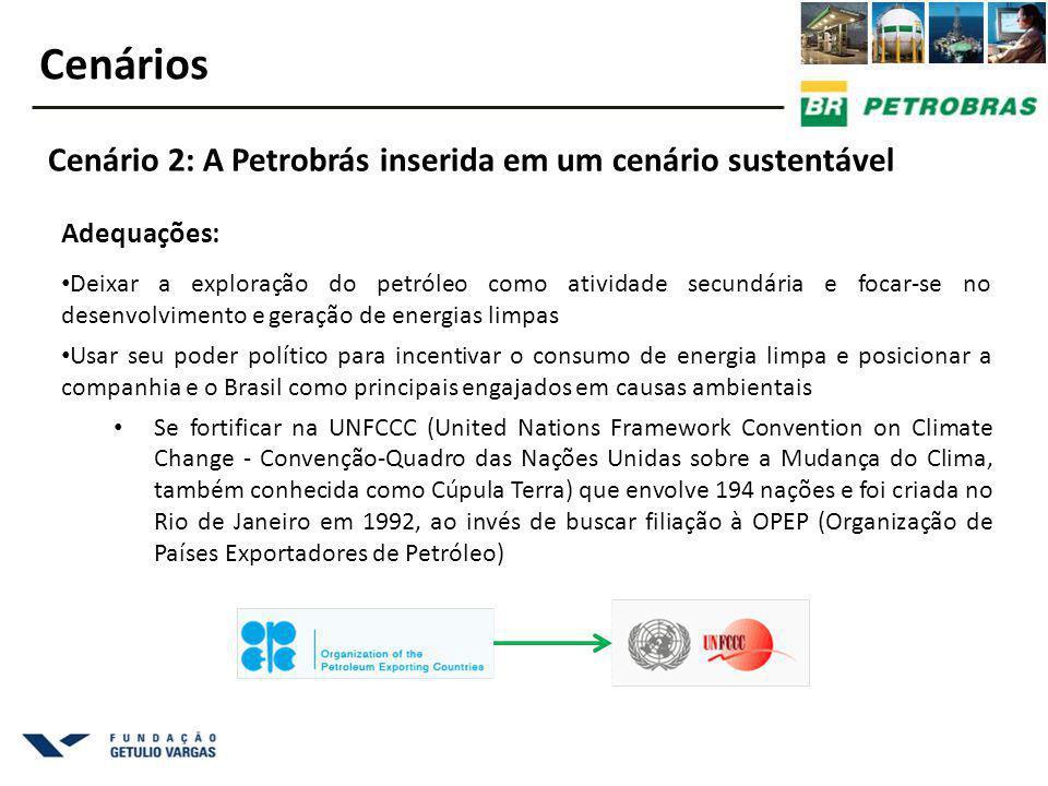 Adequações: Deixar a exploração do petróleo como atividade secundária e focar-se no desenvolvimento e geração de energias limpas Usar seu poder político para incentivar o consumo de energia limpa e posicionar a companhia e o Brasil como principais engajados em causas ambientais Se fortificar na UNFCCC (United Nations Framework Convention on Climate Change - Convenção-Quadro das Nações Unidas sobre a Mudança do Clima, também conhecida como Cúpula Terra) que envolve 194 nações e foi criada no Rio de Janeiro em 1992, ao invés de buscar filiação à OPEP (Organização de Países Exportadores de Petróleo) Cenários Cenário 2: A Petrobrás inserida em um cenário sustentável