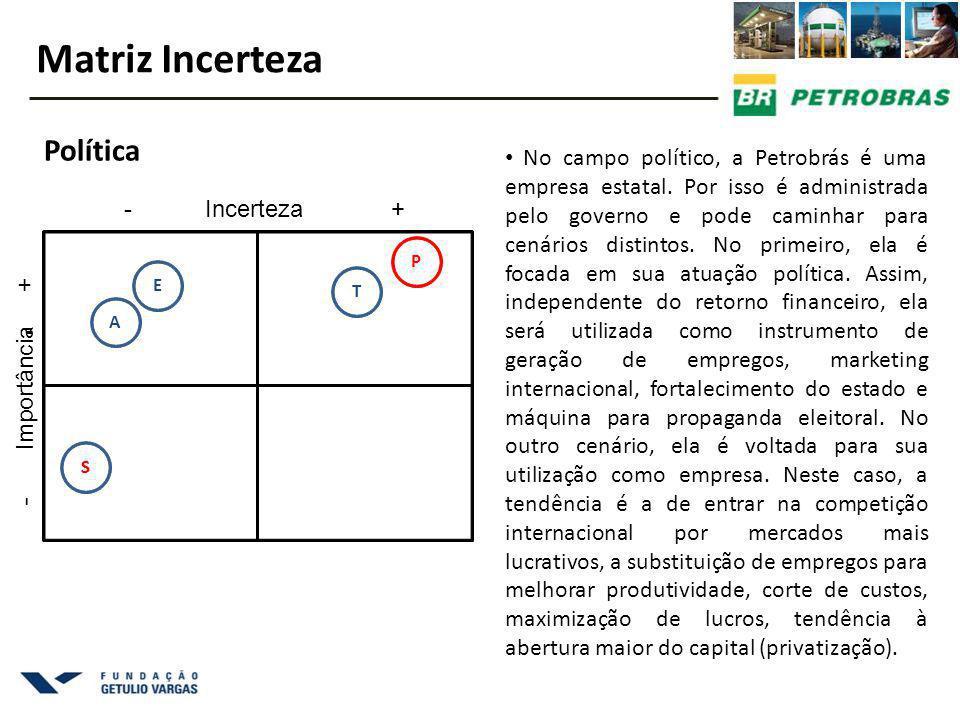 No campo político, a Petrobrás é uma empresa estatal. Por isso é administrada pelo governo e pode caminhar para cenários distintos. No primeiro, ela é