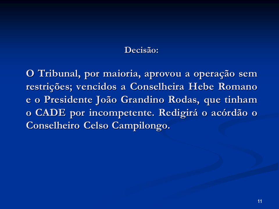 11 Decisão: O Tribunal, por maioria, aprovou a operação sem restrições; vencidos a Conselheira Hebe Romano e o Presidente João Grandino Rodas, que tin
