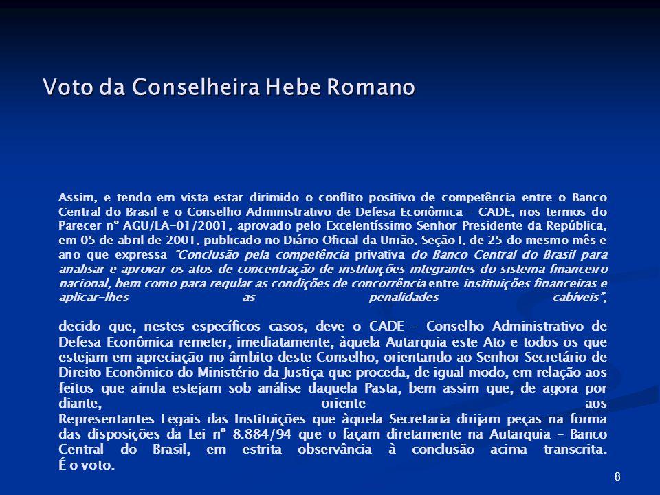 8 Assim, e tendo em vista estar dirimido o conflito positivo de competência entre o Banco Central do Brasil e o Conselho Administrativo de Defesa Econ
