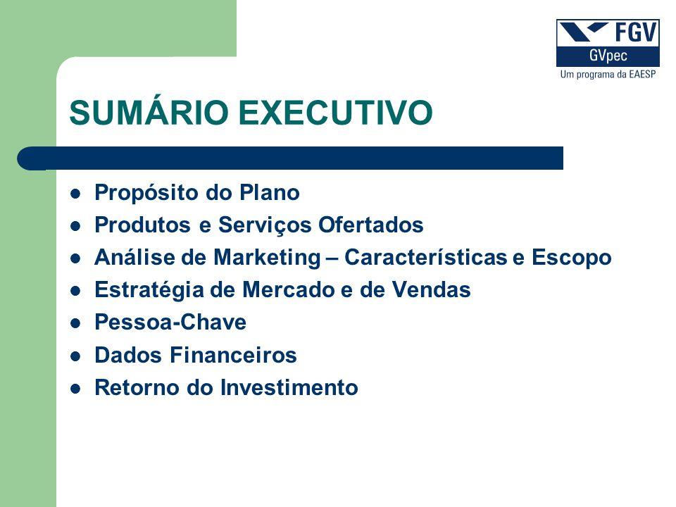 SUMÁRIO EXECUTIVO Propósito do Plano Produtos e Serviços Ofertados Análise de Marketing – Características e Escopo Estratégia de Mercado e de Vendas P