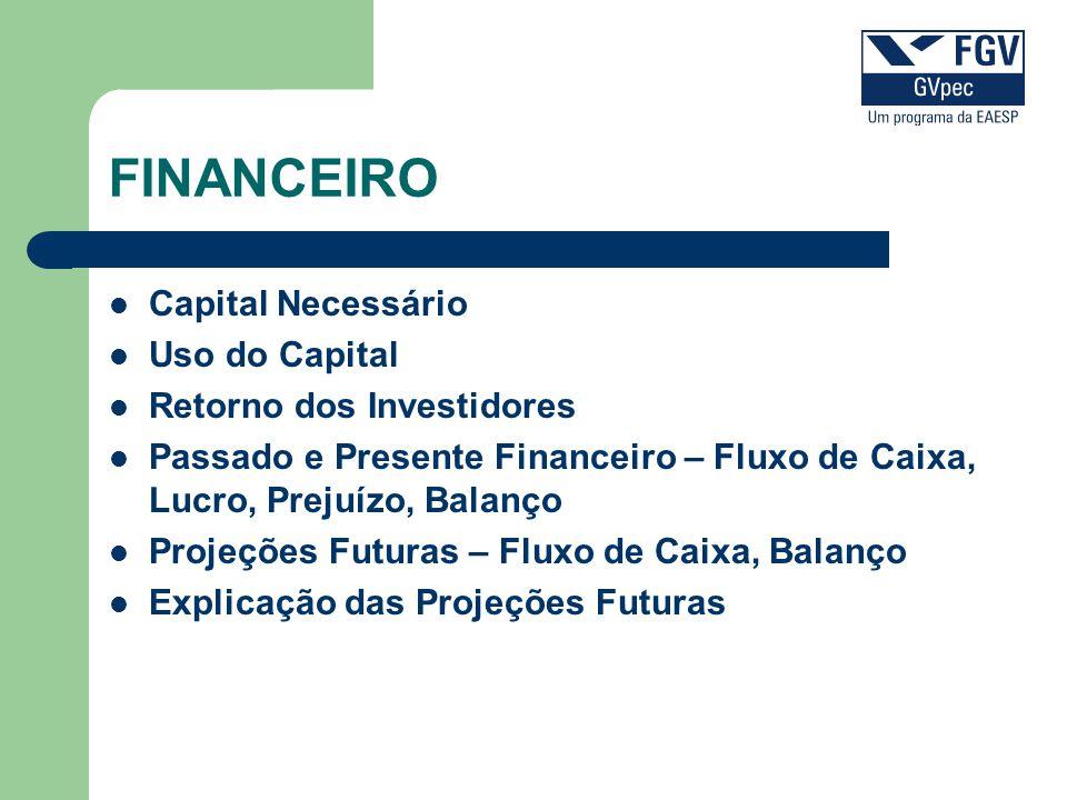 FINANCEIRO Capital Necessário Uso do Capital Retorno dos Investidores Passado e Presente Financeiro – Fluxo de Caixa, Lucro, Prejuízo, Balanço Projeçõ