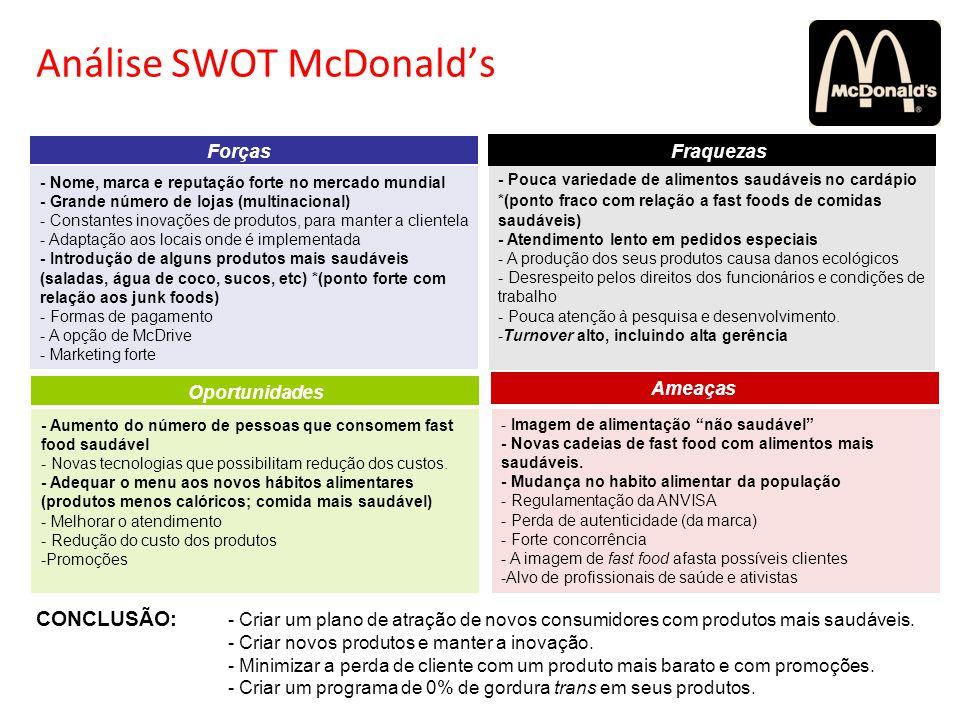 Análise SWOT McDonalds - Pouca variedade de alimentos saudáveis no cardápio *(ponto fraco com relação a fast foods de comidas saudáveis) - Atendimento