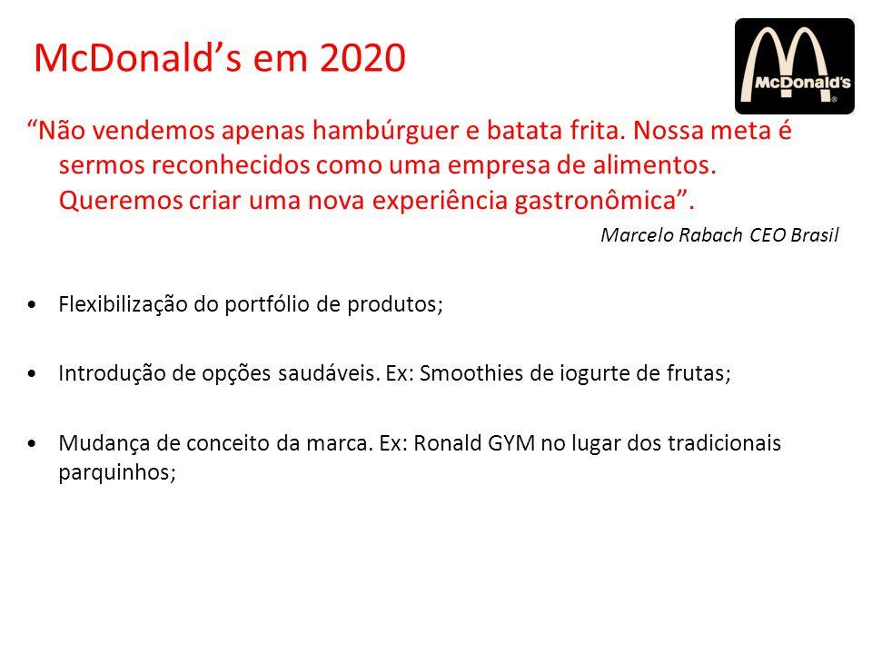 McDonalds em 2020 Não vendemos apenas hambúrguer e batata frita. Nossa meta é sermos reconhecidos como uma empresa de alimentos. Queremos criar uma no