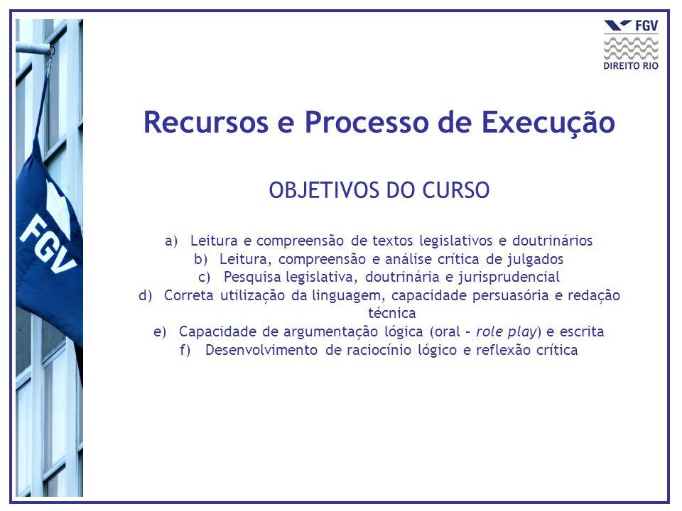 Recursos e Processo de Execução OBJETIVOS DO CURSO a)Leitura e compreensão de textos legislativos e doutrinários b)Leitura, compreensão e análise crít