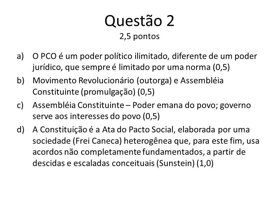 Questão 2 2,5 pontos a)O PCO é um poder político ilimitado, diferente de um poder jurídico, que sempre é limitado por uma norma (0,5) b)Movimento Revolucionário (outorga) e Assembléia Constituinte (promulgação) (0,5) c)Assembléia Constituinte – Poder emana do povo; governo serve aos interesses do povo (0,5) d)A Constituição é a Ata do Pacto Social, elaborada por uma sociedade (Frei Caneca) heterogênea que, para este fim, usa acordos não completamente fundamentados, a partir de descidas e escaladas conceituais (Sunstein) (1,0)