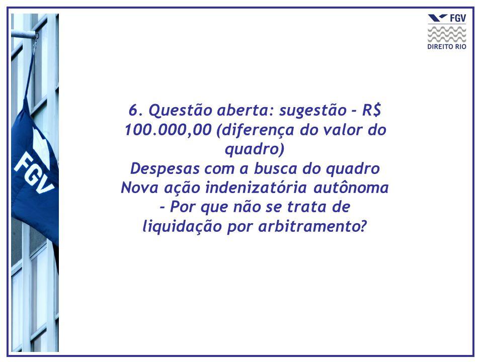 6. Questão aberta: sugestão - R$ 100.000,00 (diferença do valor do quadro) Despesas com a busca do quadro Nova ação indenizatória autônoma - Por que n