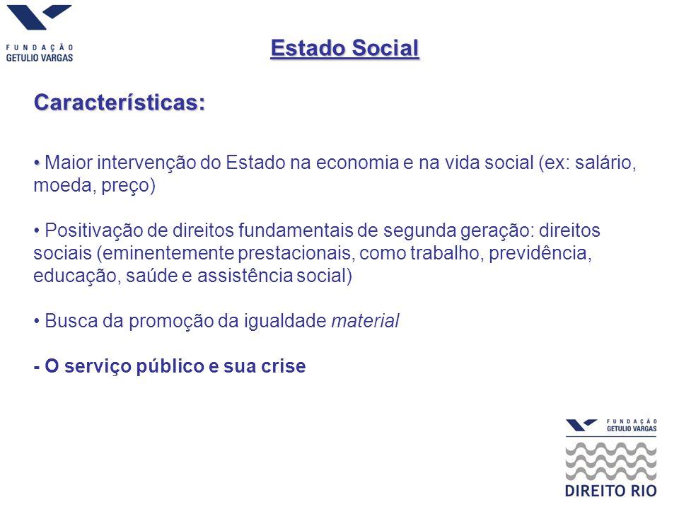 Estado Social Características: Maior intervenção do Estado na economia e na vida social (ex: salário, moeda, preço) Positivação de direitos fundamenta