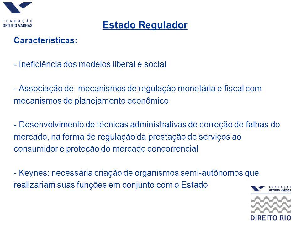 - Estado Regulador Características: - Ineficiência dos modelos liberal e social - Associação de mecanismos de regulação monetária e fiscal com mecanis