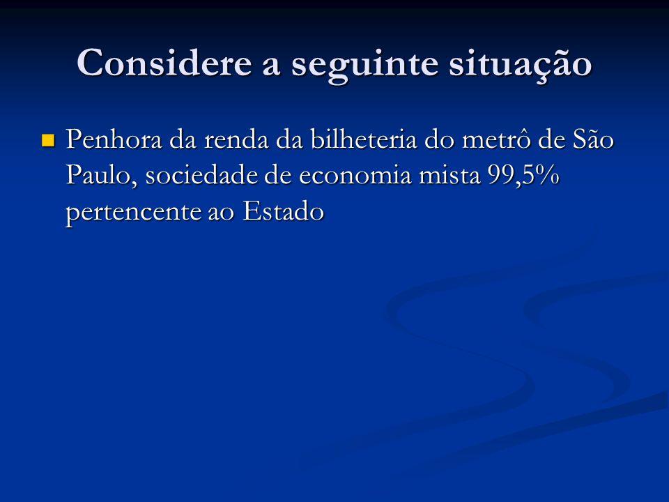 Considere a seguinte situação Penhora da renda da bilheteria do metrô de São Paulo, sociedade de economia mista 99,5% pertencente ao Estado Penhora da renda da bilheteria do metrô de São Paulo, sociedade de economia mista 99,5% pertencente ao Estado