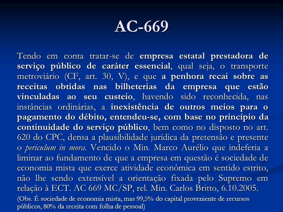 AC-669 Tendo em conta tratar-se de empresa estatal prestadora de serviço público de caráter essencial, qual seja, o transporte metroviário (CF, art.