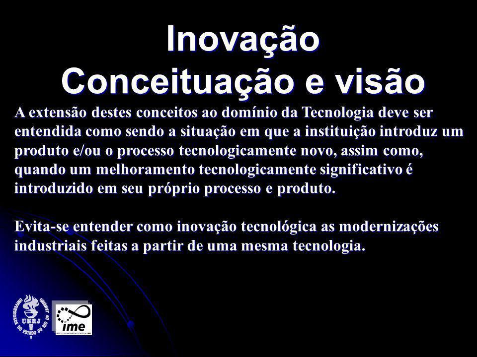 Inovação Conceituação e visão A extensão destes conceitos ao domínio da Tecnologia deve ser entendida como sendo a situação em que a instituição introduz um produto e/ou o processo tecnologicamente novo, assim como, quando um melhoramento tecnologicamente significativo é introduzido em seu próprio processo e produto.