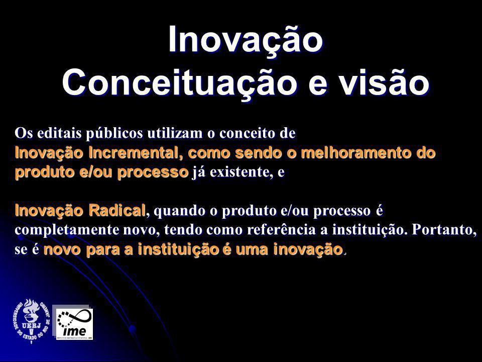 Inovação Conceituação e visão Os editais públicos utilizam o conceito de Inovação Incremental, como sendo o melhoramento do produto e/ou processo já existente, e Inovação Radical, quando o produto e/ou processo é completamente novo, tendo como referência a instituição.