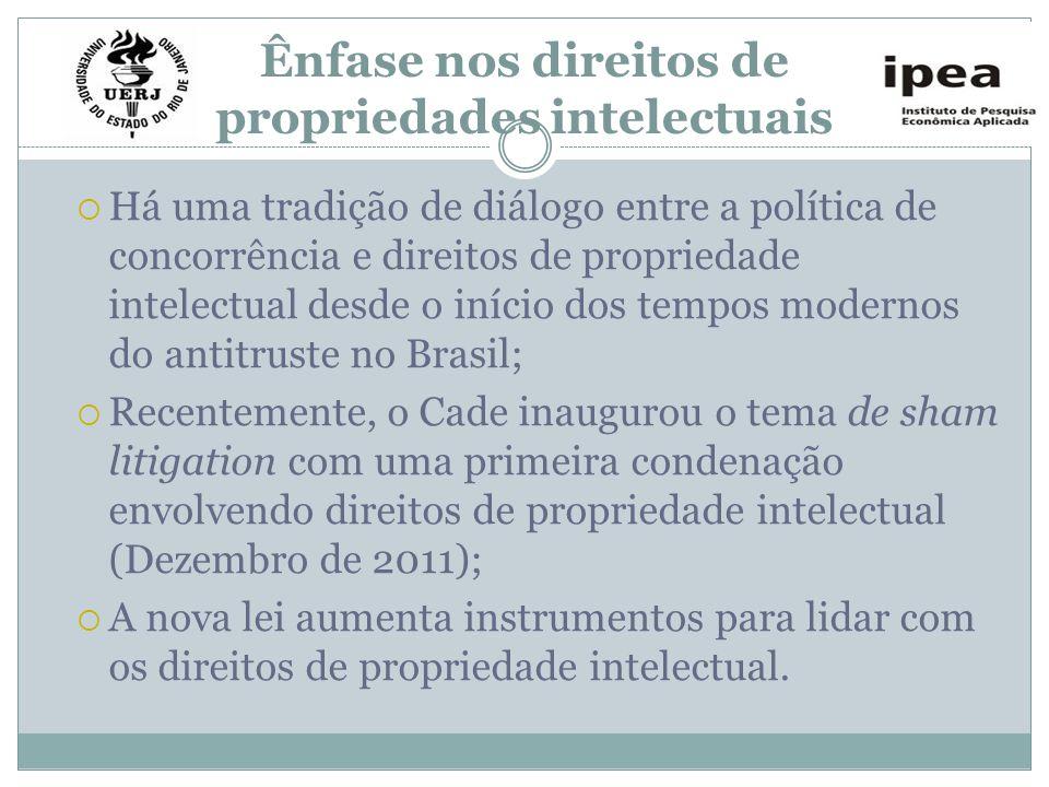 Ênfase nos direitos de propriedades intelectuais Há uma tradição de diálogo entre a política de concorrência e direitos de propriedade intelectual des