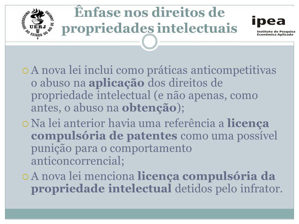 Ênfase nos direitos de propriedades intelectuais A nova lei inclui como práticas anticompetitivas o abuso na aplicação dos direitos de propriedade int