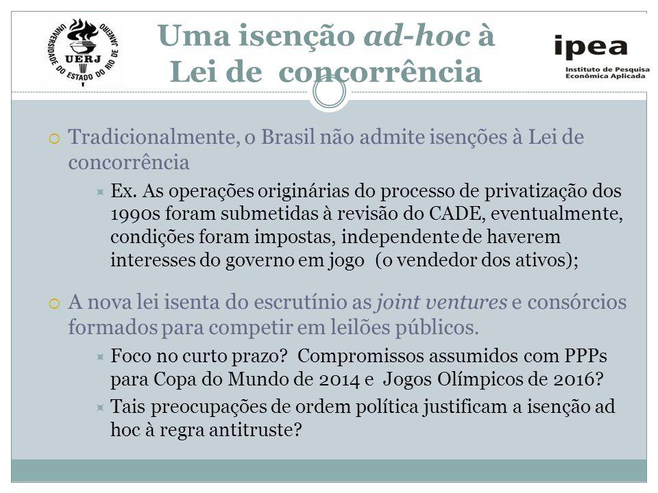 Uma isenção ad-hoc à Lei de concorrência Tradicionalmente, o Brasil não admite isenções à Lei de concorrência Ex. As operações originárias do processo