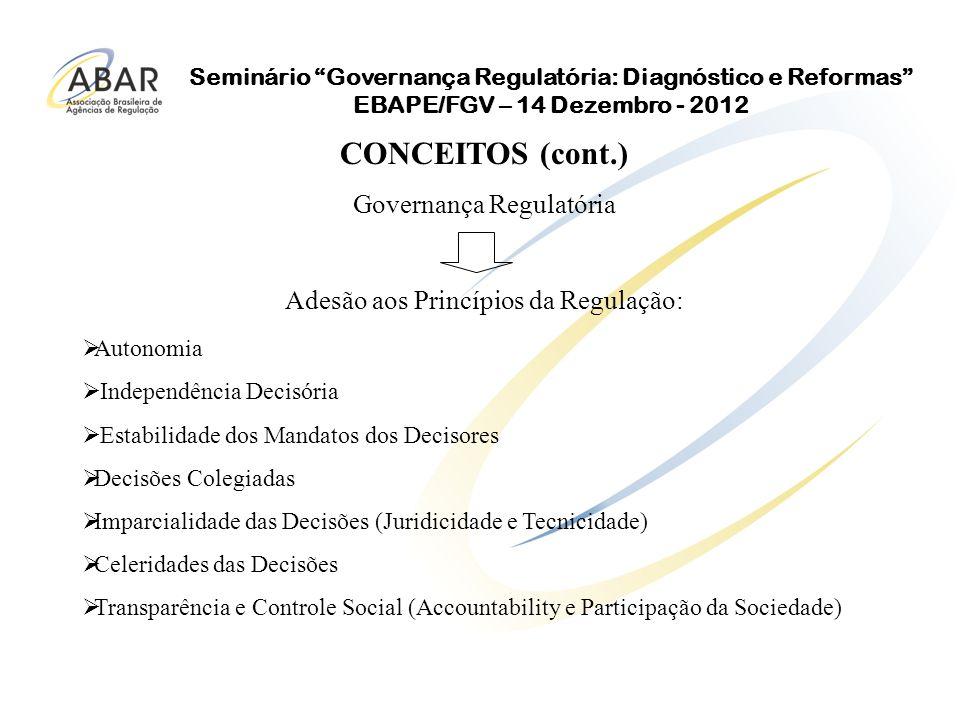 Seminário Governança Regulatória: Diagnóstico e Reformas EBAPE/FGV – 14 Dezembro - 2012 Governança – forma pela qual a autoridade é exercida para alcançar seus fins estabelecidos.