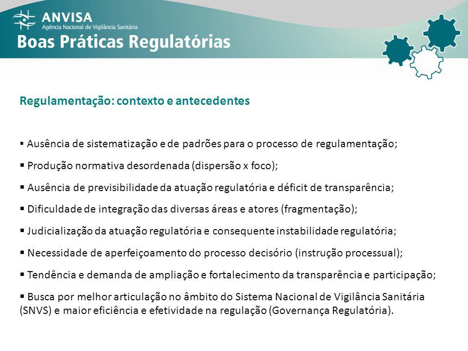 Regulamentação: contexto e antecedentes Ausência de sistematização e de padrões para o processo de regulamentação; Produção normativa desordenada (dis