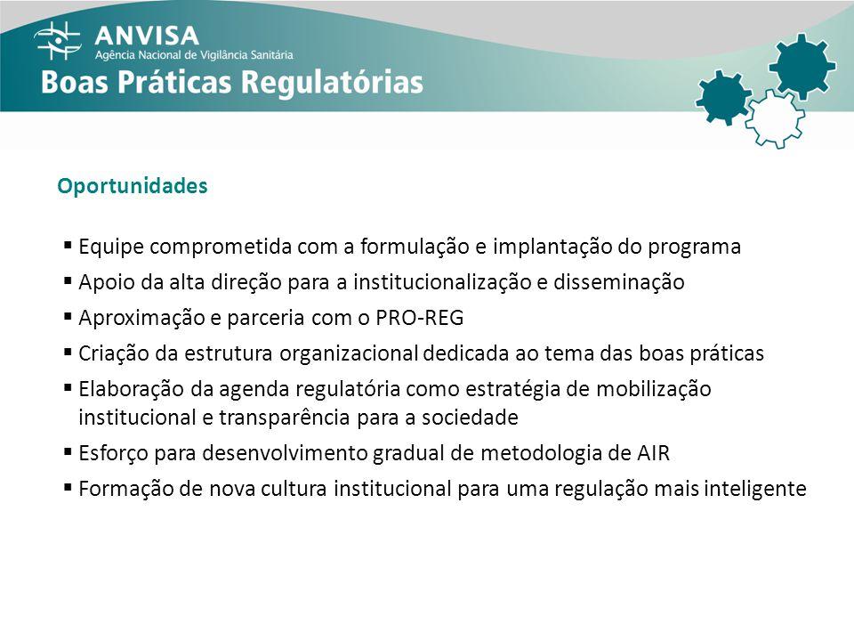 Oportunidades Equipe comprometida com a formulação e implantação do programa Apoio da alta direção para a institucionalização e disseminação Aproximaç