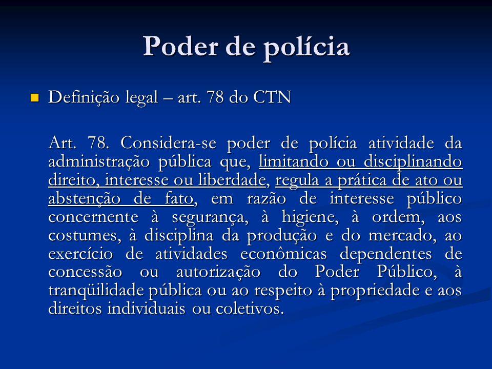 Poder de polícia Definição legal – art. 78 do CTN Definição legal – art. 78 do CTN Art. 78. Considera-se poder de polícia atividade da administração p