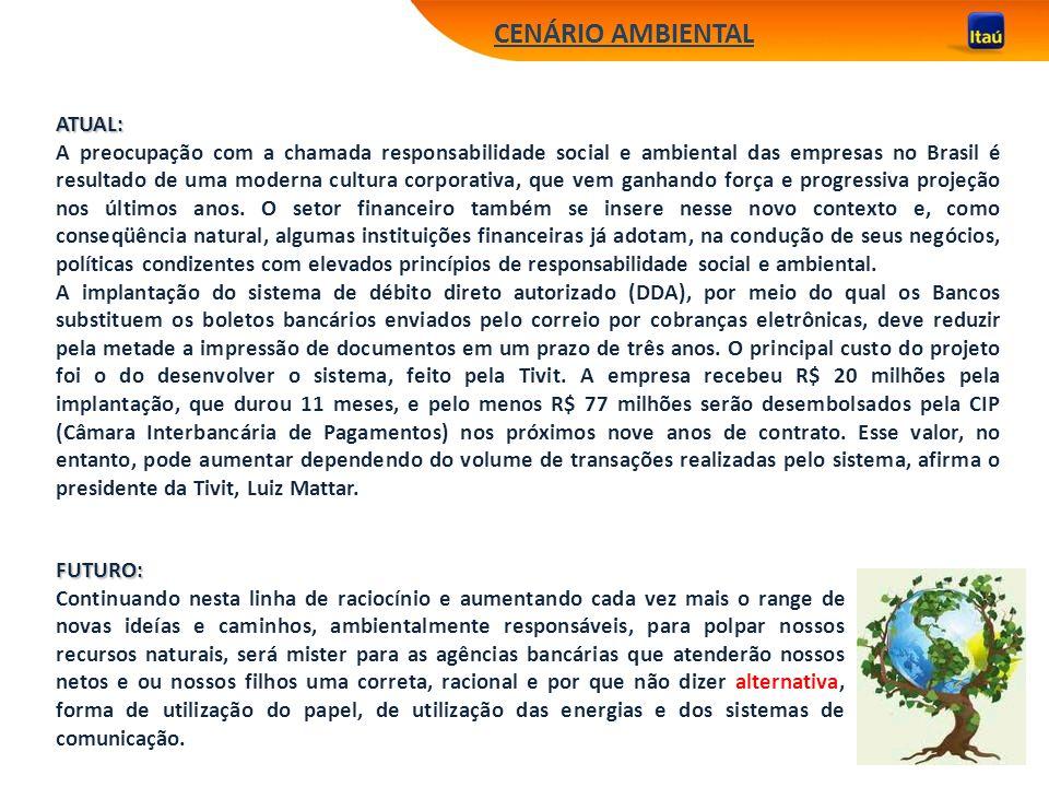 CENÁRIO AMBIENTAL ATUAL: A preocupação com a chamada responsabilidade social e ambiental das empresas no Brasil é resultado de uma moderna cultura cor