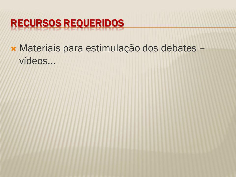 Materiais para estimulação dos debates – vídeos...
