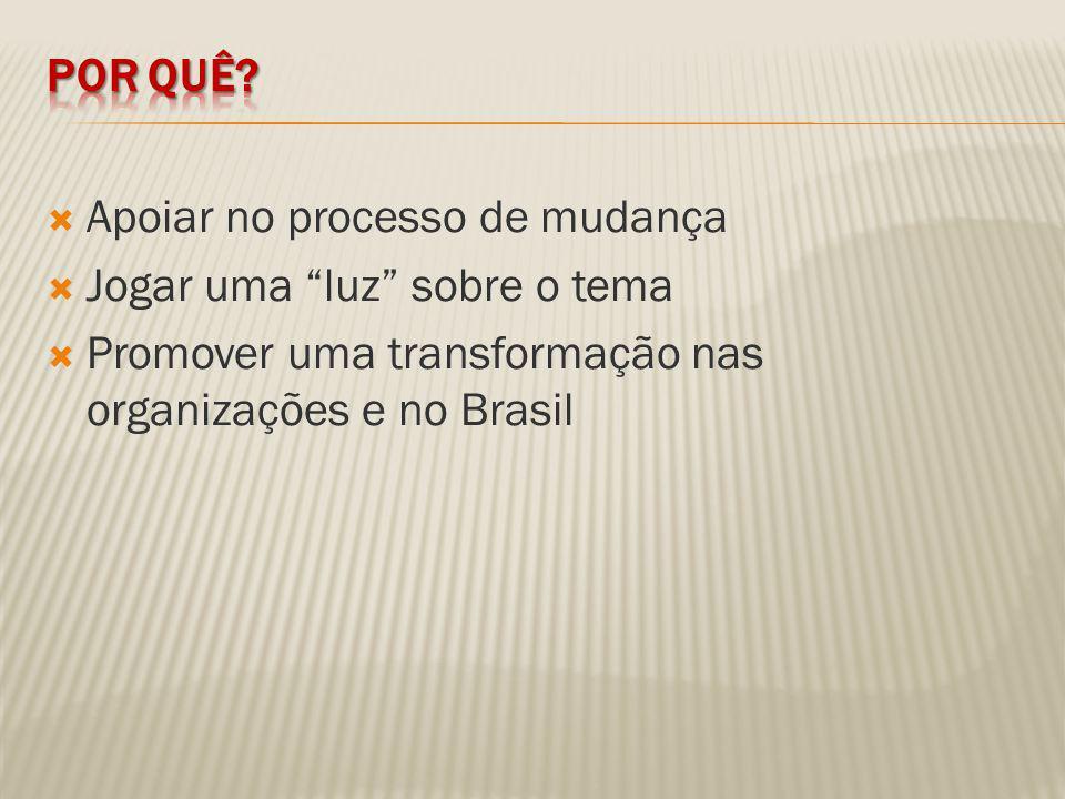Apoiar no processo de mudança Jogar uma luz sobre o tema Promover uma transformação nas organizações e no Brasil