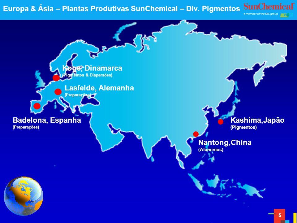 5 Nantong,China (Alumínios) Kashima,Japão (Pigmentos) Lasfelde, Alemanha (Preparações) Badelona, Espanha (Preparações) Køge, Dinamarca (Pigmentos & Dispersões) Europa & Ásia – Plantas Produtivas SunChemical – Div.