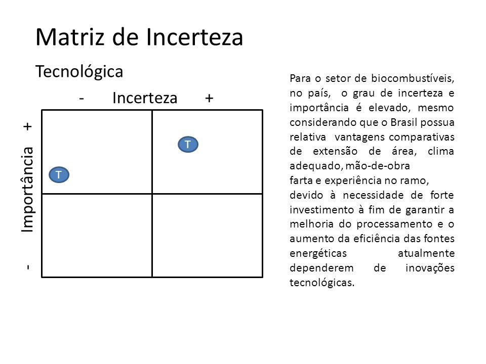 Matriz de Incerteza - Incerteza + Tecnológica T I - Importância + T T Para o setor de biocombustíveis, no país, o grau de incerteza e importância é el