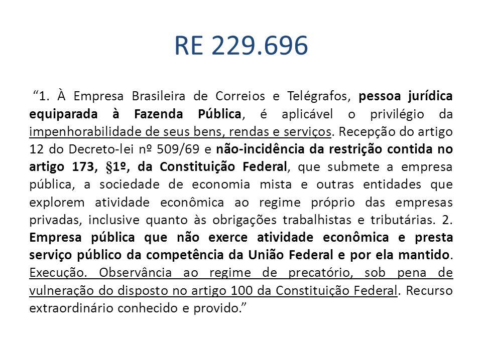 RE 229.696 1. À Empresa Brasileira de Correios e Telégrafos, pessoa jurídica equiparada à Fazenda Pública, é aplicável o privilégio da impenhorabilida