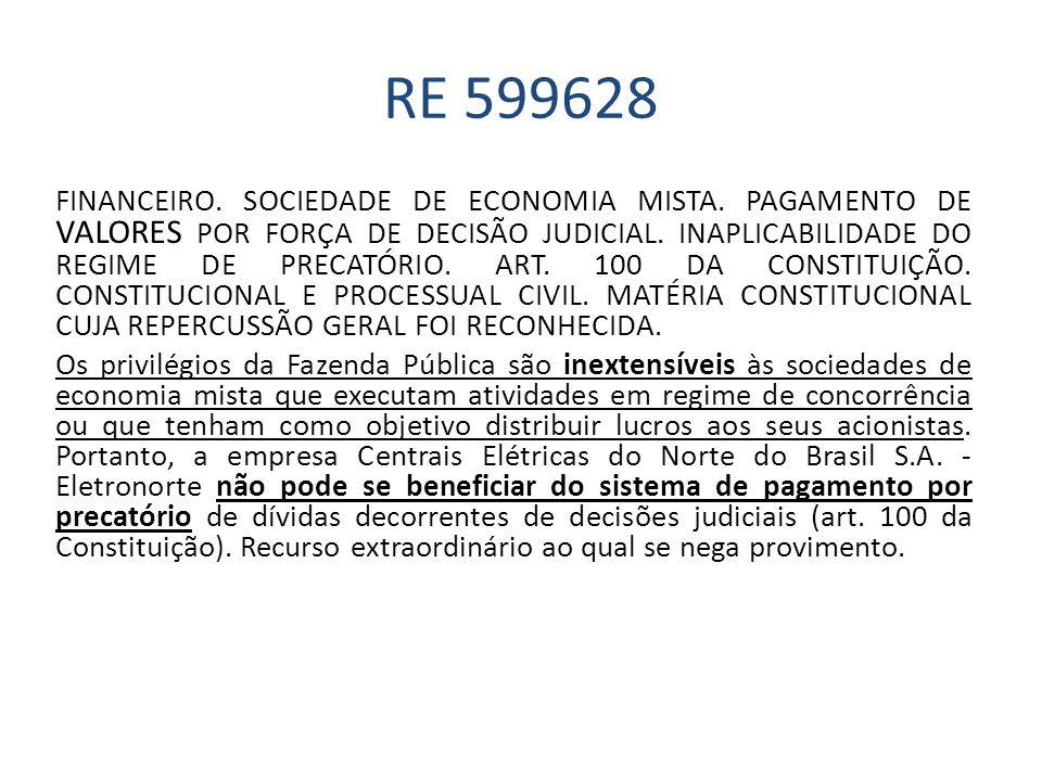 RE 599628 FINANCEIRO. SOCIEDADE DE ECONOMIA MISTA. PAGAMENTO DE VALORES POR FORÇA DE DECISÃO JUDICIAL. INAPLICABILIDADE DO REGIME DE PRECATÓRIO. ART.