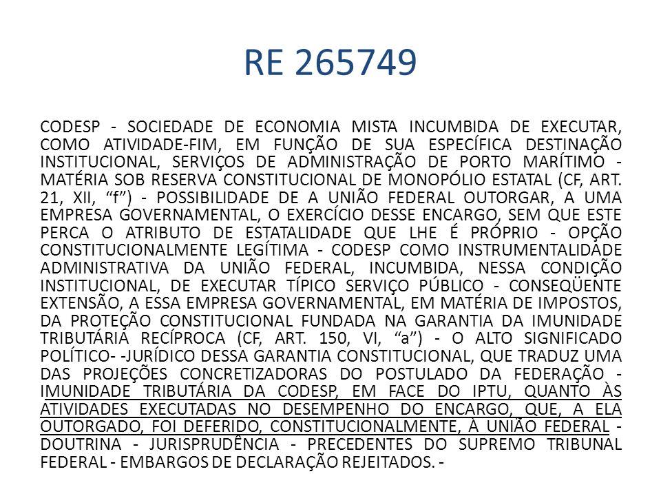 RE 265749 CODESP - SOCIEDADE DE ECONOMIA MISTA INCUMBIDA DE EXECUTAR, COMO ATIVIDADE-FIM, EM FUNÇÃO DE SUA ESPECÍFICA DESTINAÇÃO INSTITUCIONAL, SERVIÇ