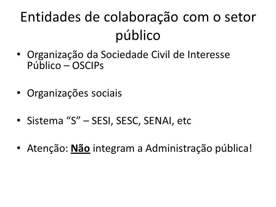Entidades de colaboração com o setor público Organização da Sociedade Civil de Interesse Público – OSCIPs Organizações sociais Sistema S – SESI, SESC,