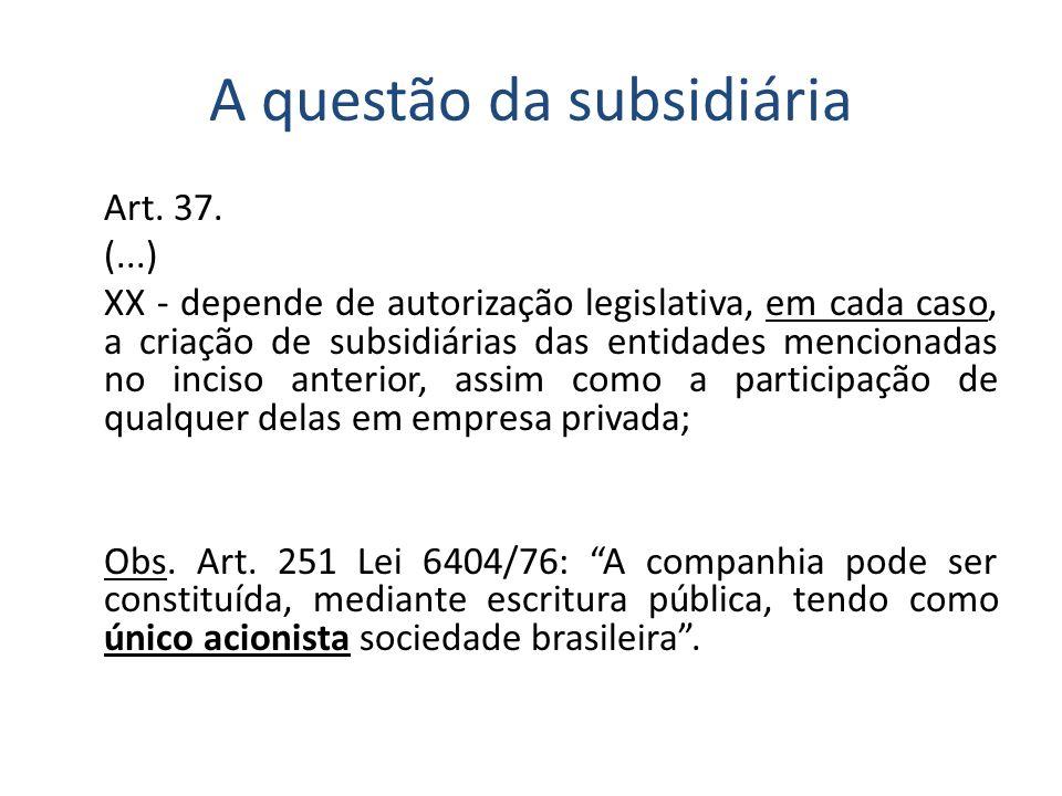 A questão da subsidiária Art. 37. (...) XX - depende de autorização legislativa, em cada caso, a criação de subsidiárias das entidades mencionadas no
