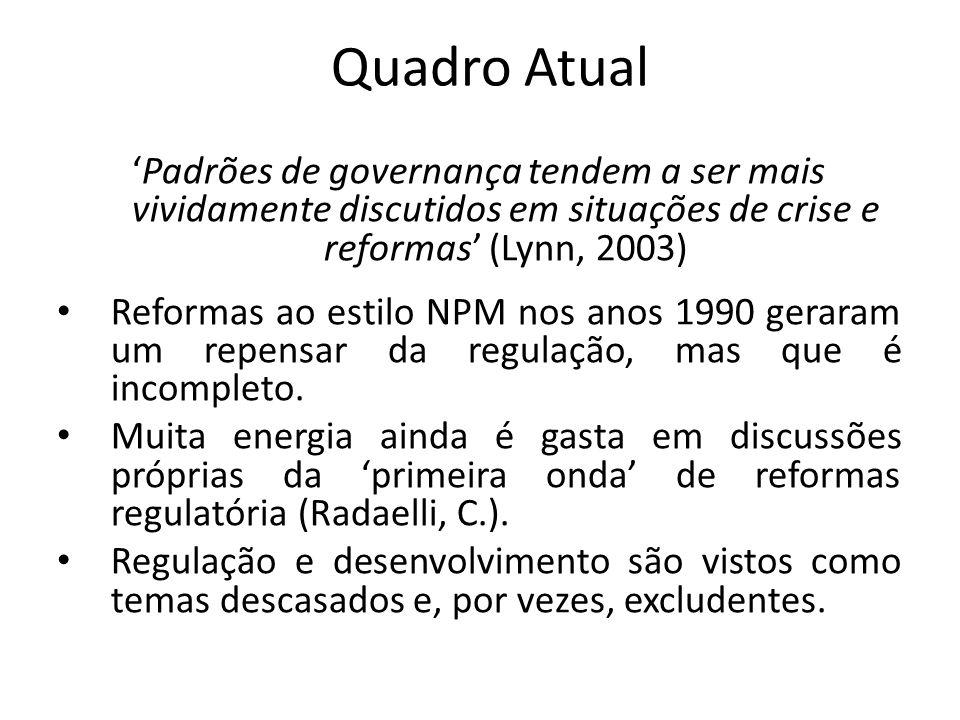 Quadro Atual Padrões de governança tendem a ser mais vividamente discutidos em situações de crise e reformas (Lynn, 2003) Reformas ao estilo NPM nos a