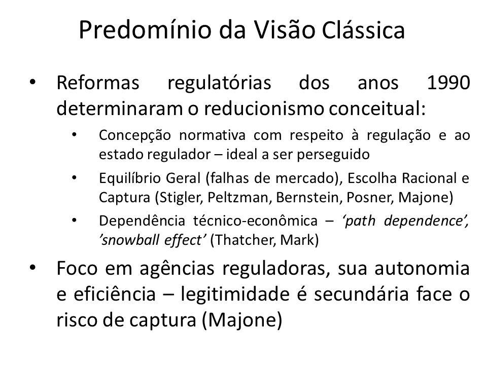 Predomínio da Visão Clássica Reformas regulatórias dos anos 1990 determinaram o reducionismo conceitual: Concepção normativa com respeito à regulação