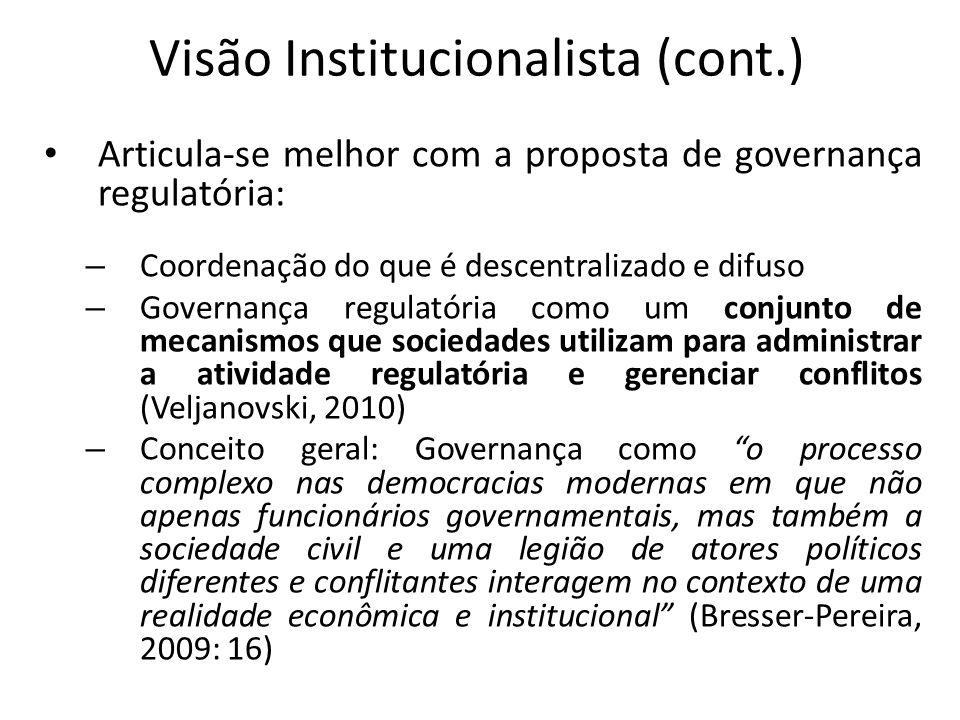 Visão Institucionalista (cont.) Articula-se melhor com a proposta de governança regulatória: – Coordenação do que é descentralizado e difuso – Governa